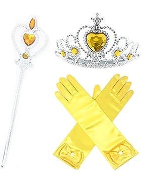 [Patrocinado]GenialES Princesa Dress Up Accesorios para Niñas Diadema Varita Mágica Collar Guantes Blanco para Cumpleaños Party...