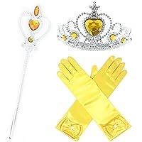 GenialES® Princesa Dress Up Accesorios para Niñas Diadema Varita Mágica Collar Guantes Blanco para Cumpleaños Party Carnaval Fiesta Cosplay Halloween