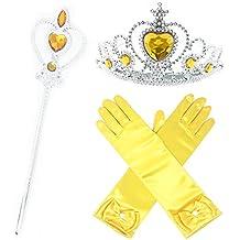 GenialES Princesa Dress Up Accesorios para Niñas Diadema Varita Mágica Collar Guantes Blanco para Cumpleaños Party