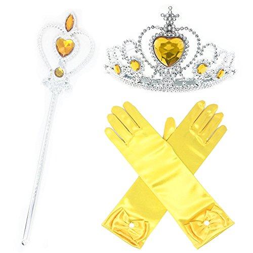 GenialES 3Pcs Princesse Dress Up Diadème Varita Magie Gants Jaunes Enfants pour Cosplay Halloween Carnaval Fête d'anniversaire