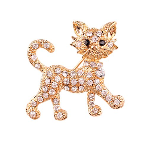 - 51TOu68noML - SNNplapla Cat Full Crystal Rhinestone Brooch Pin Animal Brooch Pin For Women Jewelry Accessories