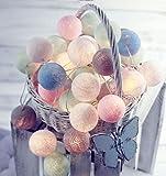 Ghope LED Kugeln Bälle Lampion Lichterkette 20er Partylichterkette Deko für Innen Balkon Party Weihnachten Hochzeit Feiertag Batterie-betrieben 3m Warmweiß Licht ,Bunt