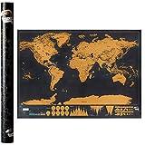 Weltkarte Zum Rubbeln XXL - Scratch Map - 82.5x59.4 Cm Deluxe Edition Gold Auf Schwarzem Hintergrund Geographische Karte Physik/Politik Mit Farbigen Nationen