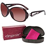 #1: Elegante UV Protected Brown Oval Sunglasses for Women and Girls