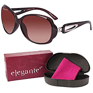 Elegante UV Protected Brown Oval Sunglasses for Women and Girls