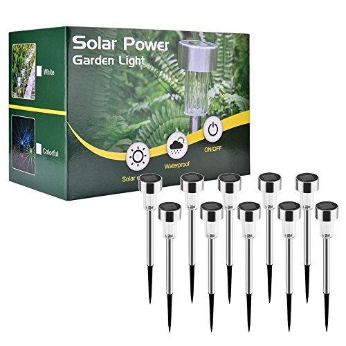 Solarleuchte, AUSHEN 10 Stück IP65 wasserdichte energiesparende LED Solarlampe, warmweiß, Edelstahl, ideal für Terrasse, Rasen, Garten und Wege [2 Jahre Garantiezeit]