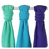 XKKO BMB070031A 3er Pack Bambuswindeln zum Wickeln, beim Stillen, als Unterlage oder leichte Decke, Windeln 70 x 70 cm, mehrfarbig