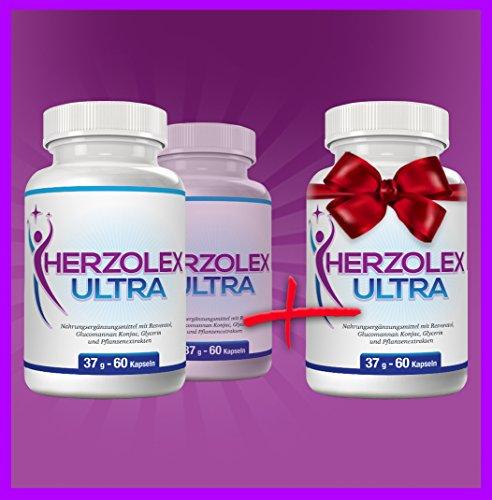Herzolex Ultra – Schlankheitspille für effektives Abnehmen| Kaufe 2 Flaschen und erhalte 1 gratis dazu | (3 Flaschen)