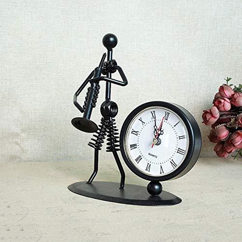 LOVEU Vintage Eisen Kunst Musik Figur Statue, Musiker Uhr Figur Römischen Zahlen Uhr Dekoration Ornament Für Home Office Schreibtisch Geschenk-d 15x9x17cm(6x4x7inch) 15x9x17cm(6x4x7inch)
