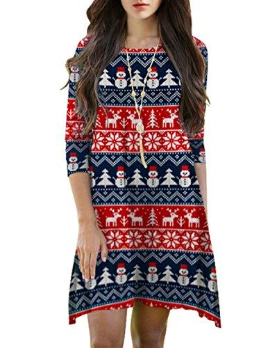 Cfanny Femmes 3/4 Manches Santa Noël Évasé Imprimé Robe Évasée Cute Bonhomme De Neige