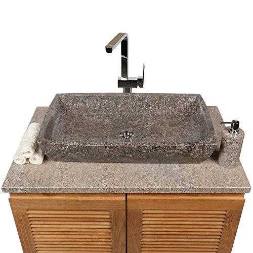 wohnfreuden Marmor Waschbecken MARA 70 x 40 cm ✓ eckig anthrazit ✓ Naturstein Waschplatz Handwaschbecken Steinwaschschale Naturstein-Aufsatzwaschbecken für Ihr Bad ✓ inkl. techn. Zeichnung
