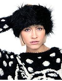 Ladies Girls Faux Fur Wrap Headband Head Band Warmer Winter Hat Ear Muffs in Brown, White, Black, Pink, Grey