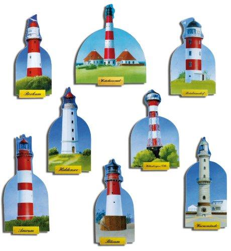 Kühlschrankmagnete Leuchtturm Magnete für Magnettafel Kinder stark 8er Set Maritim mit Motiv Deutsche Leuchttürme