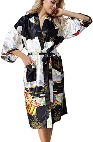 FLYCHEN Damen langer Bademantel mit Schönheiten Pattern Satin Kimono Robe Nachtwäsche Schwarz-2