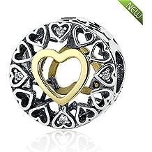 PANDOCCI 2016 Amar Navidad bolas círculo se ajusta Pandora encanta granos de placas 14K pulseras de oro para la fabricación de la joyería joyería original 925