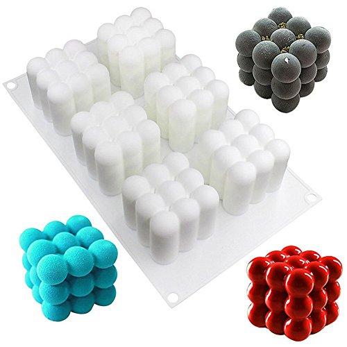 xiaoshenlu Mousse-Kuchenform Silikomart Silikon Backform - 3D Backformen DIY Mold, 6 Löcher Zauberwürfel, weiß