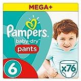 Pampers Baby-Dry Pants Pañales para Bebés, Talla 6 (15+ kg) - 76 pañales