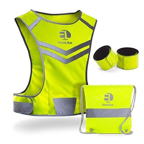Premium Warnweste evolike von Einzigartiges Design für Laufen Walking Radfahren Joggen Motorrad mit Pocket + 4Hohe Sichtbarkeit Armbänder + Tasche, Evolike Brightyvest Adults, gelb (Besten T-shirt Adult Freund)