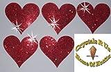 1Pack = 5Stoff Pailletten 40mm Herzen zum Aufbügeln Rot