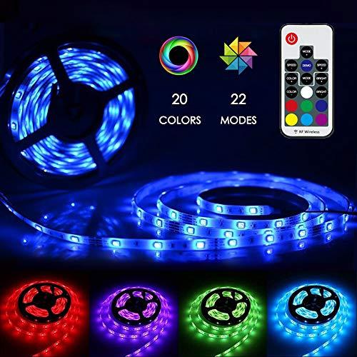 LED Strip 5M GS Adapter, Zknen® LED Licht Streifen RGB 150LEDs Selbstklebend, Fernbedienung Led Stripes Lichtband Leiste Band Beleuchtung mit 20 Farben 22 Beleuchtungsmodi RF Fernbedienung - Blaue Led-leiste