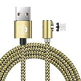 UGI L Cble USB Charge USB C Magnétique Type C Lightning Cble Angle Droit 3.3ft/6.6ft/10ft Nylon Tressé avec LED Affichage pour iPhone X,8,7,6 Plus Samsung Galaxy S7,S8,S9 Android Dispositif Lot