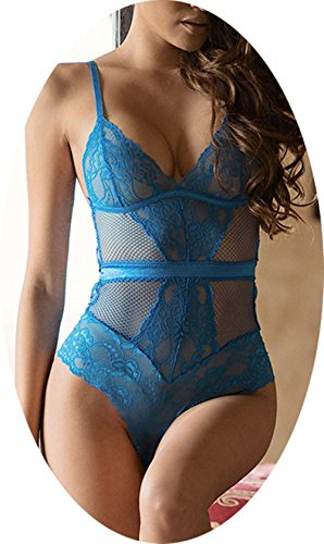 sous Body Deep V Spitze One Piece Plus Size Dessous Nachtwäsche , blue , 6xl (6xl Halloween-kostüme)