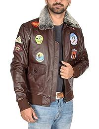 Hommes Cuir Bomber Top Gun Veste avec Collier Détachable et Insignes Hank  Marron ccbe317531cc