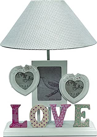 cadre photo romantique en forme de c ur style lampe de table avec abat jour en tissu blanc gris. Black Bedroom Furniture Sets. Home Design Ideas