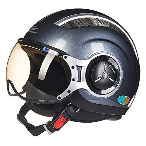 FLYFEI Casco Moto retròCasco HarleyD.O.T ApprovatoCasco Open Pilot per Motocicletta Summer Pilotper Skateboard Ciclomotore FuoristradaBambini Adulti Neri,XXL(61~62cm)
