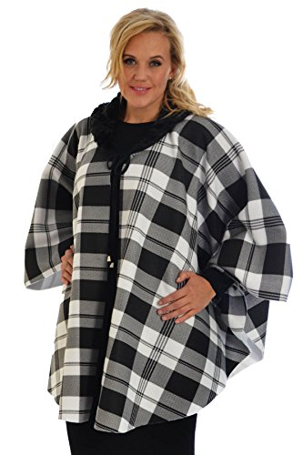Tartan Cape Jacket White One Size (Faux Pelz Cape Men)