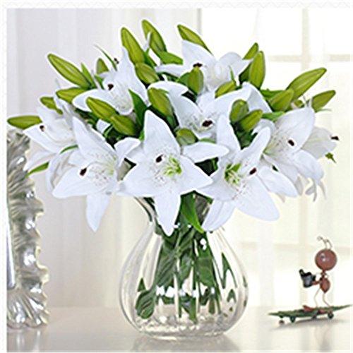 SUNNIOR 1 Bunch 3 Kopf Weiße Lilie Parfüm Artificial Blumenstrauß Hochzeit / Gräber / Vasen,Weiß(5Pcs)