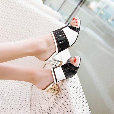 LFNLYX donna pantofole e flip-flops Comfort estivo brevetto pelle vestito Casual Party & Sera Chunky Heel Split nero comune Pesca Passeggiate Peach