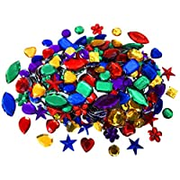 Kids B Crafty Gemstones For Kids Arts And Crafts - Craft Supplies Gems - Coloured Jewellery - Treasure - Acrylic Jewels - Pirate - Crown - 100g Large Small Mix