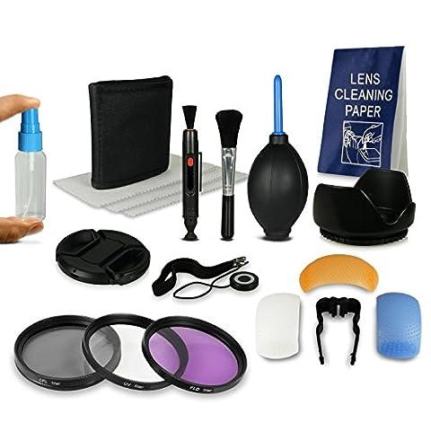 52mm Zubehörset für Canon EOS M - Nikon D40 | D60 | D3000 | D3200 | D3300 | D5000 | D5200 - Panasonic Lumix DMC-G1 | DMC-G2 | DMC-G3 | DMC-G5 | DMC-G6 | DMC-G10 | DMC-GF1 | DMC-GF2 | DMC-GF3 - Pentax K01 | K100D | K10D | K200D | K20D | K30 | K5 IIs | K50 | K500 | K7 | Km | Kr | Kx - Samsung GX-1L - Fuji X20 | X-Pro1 - Olympus OMD EM1 | EM5 und weitere… inkl. Filter Kit + Filteretui + 8in1 Reinigungsset + Gegenlichtblende + Objektivdeckel & Halter + Diffuserset