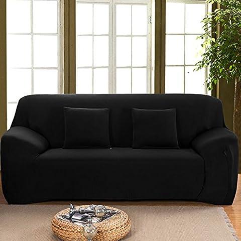 Muebles Del Hogar Silla Loveseat Sofá 1 2 3 Plazas Sofá Elástico Tapa Elástico Protector Correa Funda 10 Colores - 95%Polyester , 5%Spandex Fabric, Negro - Sofá, 77''-91'', 195-231cm (77''-91'')