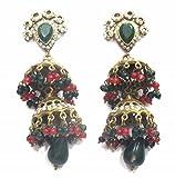 jewelshingar Schmuck feine Ohrringe vergoldet dangle-earrings für Mädchen (30283-pj-green-ruby)