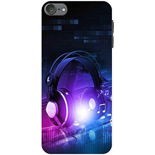 Kopfhörer auf DJ-Deck Turntables Hartschalenhülle Telefonhülle zum Aufstecken für Apple iPod Touch 6th Generation