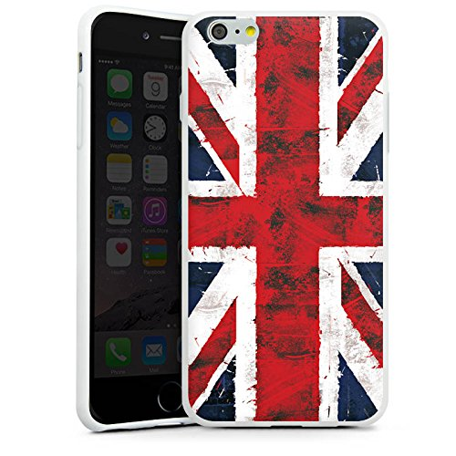 Apple iPhone 6s Hülle Case Handyhülle Grossbritannien Flagge Union Jack - Grunge Silikon Case weiß