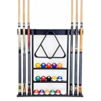 (Black) - 6 Pool Cue - Billiard Stick Wall Rack Made of Wood Choose Mahogany, Black or Oak