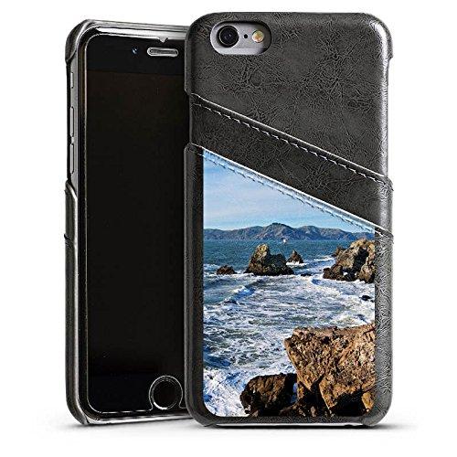 Apple iPhone 4 Housse Étui Silicone Coque Protection Côte Mer Ressac Étui en cuir gris