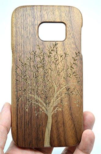 Roseflower samsung galaxy s7 edge legno custodia - albero di natale noce - qualit à premium cover in bambù/legno naturale con gratis paraschiena schermo per il tuosmartphone