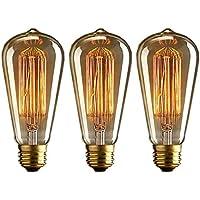 Edison Bombilla, E27 Vintage Edison Lamparas Antigua 40W Bombillas Retro Decorativas Regulable Lampara Bulbo 2700k Filamento Antigua Luz Calida 3 Unidades
