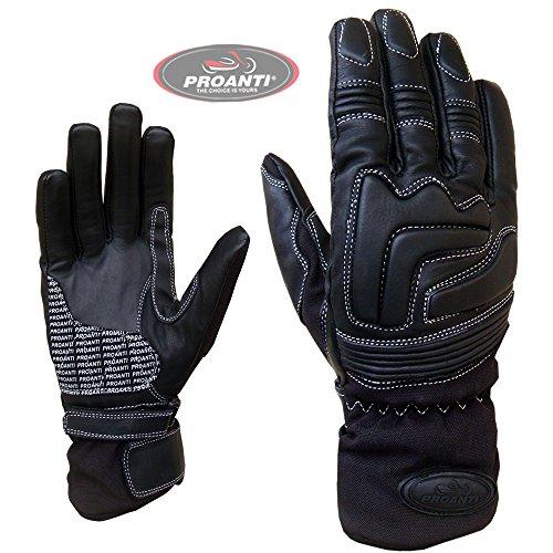 Damen Regen Leder Motorradhandschuhe von PROANTI Leder Motorrad Handschuhe Größe M