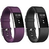 Fitbit Charge 2 Unisex Armband Zur Herzfrequenz Und Fitnessaufzeichnung, Pflaume, L, FB407SPML-EU & Fitbit Standard Charge 2 Unisex Armband Zur Herzfrequenz Und Fitnessaufzeichnung, Schwarz, L, FB407SBKL-EU
