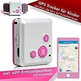 GPS Tracker CREATONE MyGPS-1000 Rosa mit App Echtzeitposition (iOS & Android), SMS-Tracking, Anruf-Funktion, Geo-Zaun für Kinder, ältere Menschen und Alle, die Wert auf Sicherheit Legen