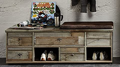 Stella Trading BZDD643061 Sitzkommode mit Sitzkissen, Sitzbank, Holz, braun, 130 x 47 x 40 cm