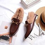 ZHAOXIANGXIANG Winter Winter Schuhe Samt Flanken Und Muller Schuhe Bean Schuhe, Dreißig - Neun, Braunes Leder
