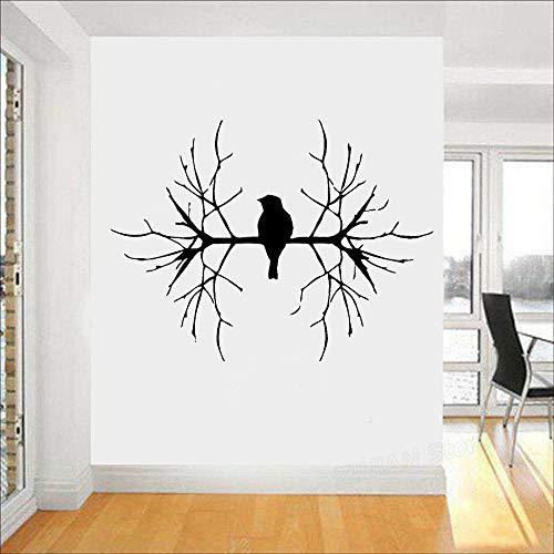 wukongsun Uccelli sul Ramo Adesivi murali in Vinile Decorazioni per la casa Soggiorno Natura Decorativi Animali Adesivi murali Decorazione Camera da Letto Nero 75X56 cm