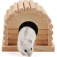 Namgiy Hamster House Gerbils Cage Nest Rats Squirrel Casa de madera para pequeñas mascotas suministros 4,3 x 4 x 3,5 pulgadas