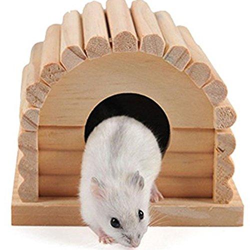 Namgiy, tana per criceti, gerbilli, ratti, scoiattoli, a forma di casa, in legno, per piccoli per animali, 10,9 cm x 10,9 cm x 8,9 cm